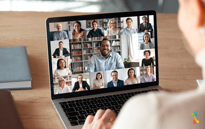 Woman in virtual meeting representing we need a break between back-to-back meetings