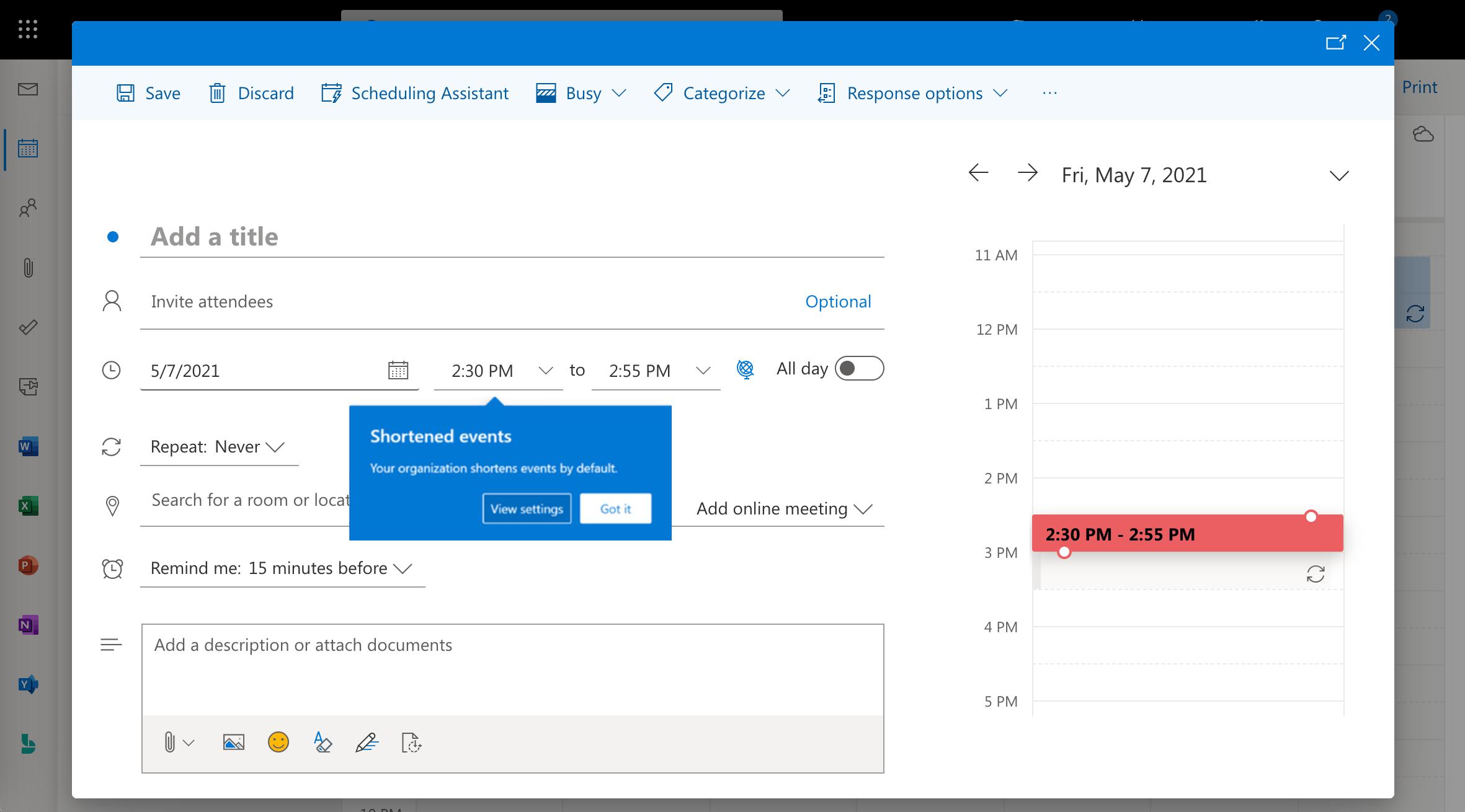 Outlook warning screenshot about default breaks between remote meetings