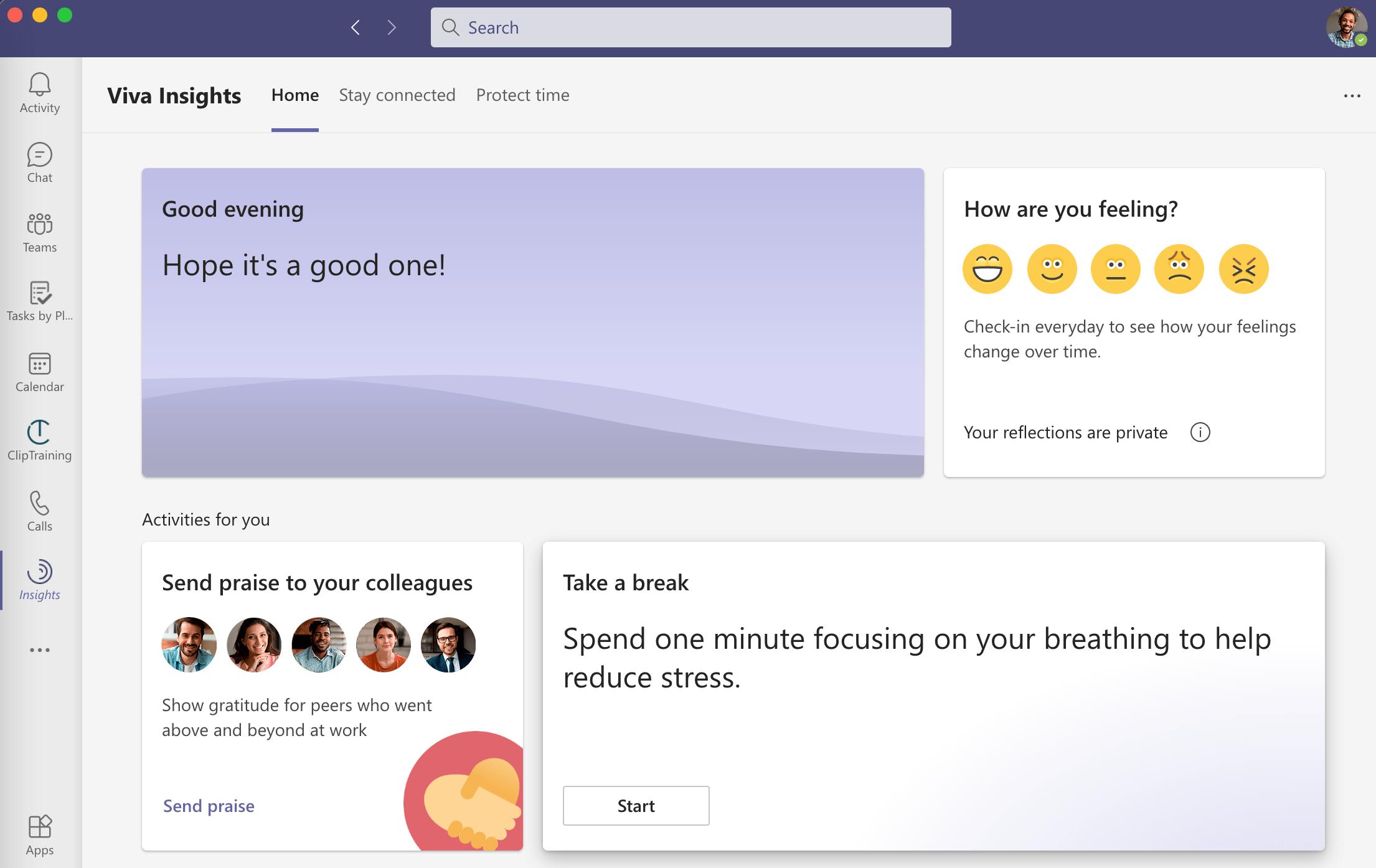 Using Viva Insights to take breaks between virtual meetings in hybrid work and increase wellbeing